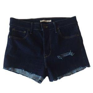 Levi's High Waisted Cut-off Shorts Dark Blue 29